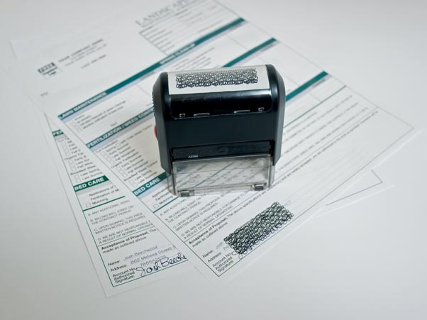 Stamp to use on sensitive documents