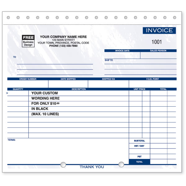 W105 - Compact Carbonless Invoices