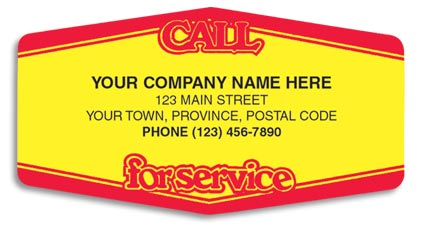Service labels customized with your company name and other information on a yellow background with a red border.