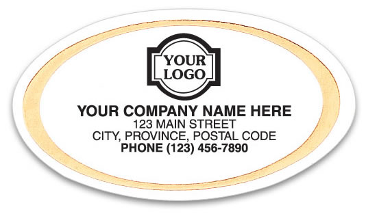 Small business labels printed on white paper with a gold trim all around.