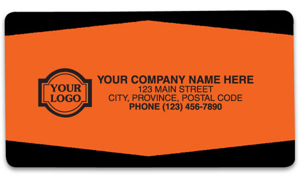 Orange and black promotional labels personalized with your business information.