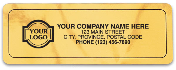 Gold rectangular Mylar labels with your company name.