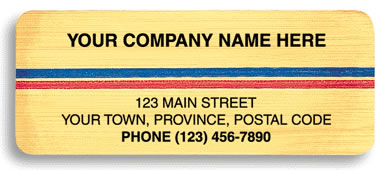 Business laminated labels printed on brushed chrome paper with a blue and red stripe all across.