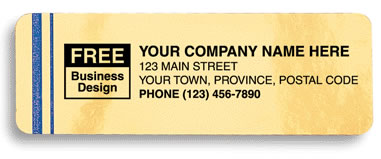 Weather resistant labels printed on gold Mylar stock with 2 blue stripes to the left of your company name.
