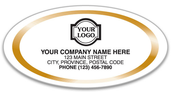 Medium oval white labels with a gold trim all around your company information.
