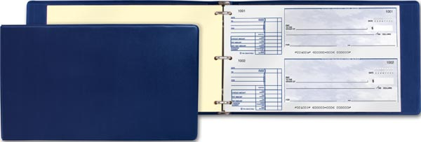 Blue cheque binder to use with business cheques that are 2-up.