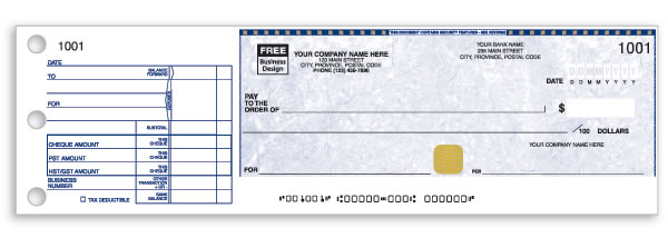 Manual business cheques with your company imprint.