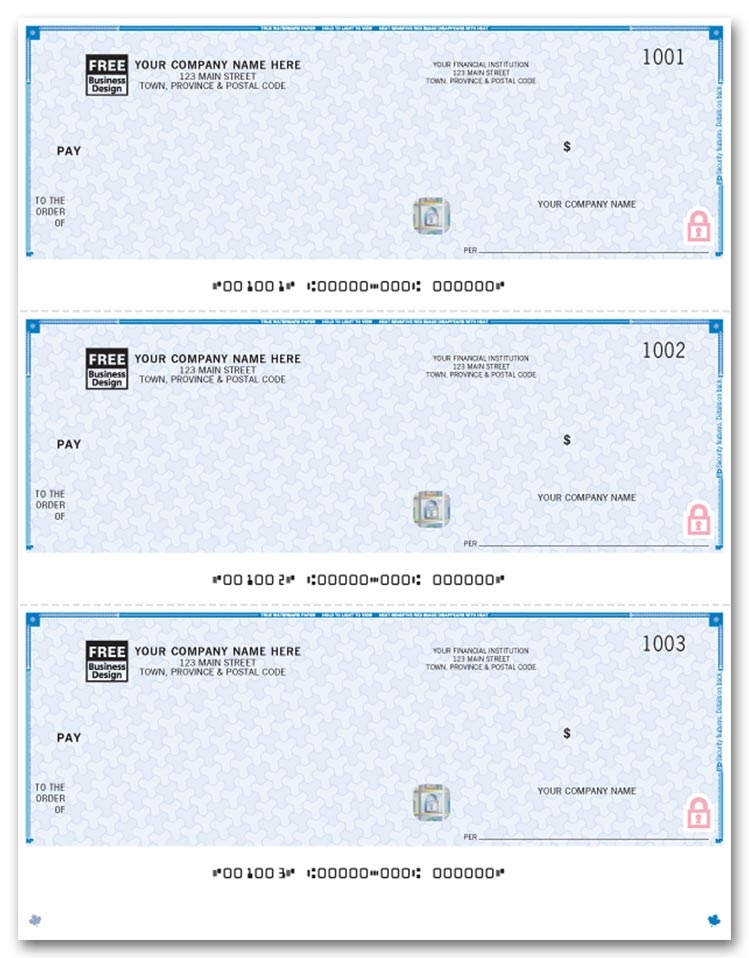 WHS9011 - Laser Cheques, 3-up, Premium Security