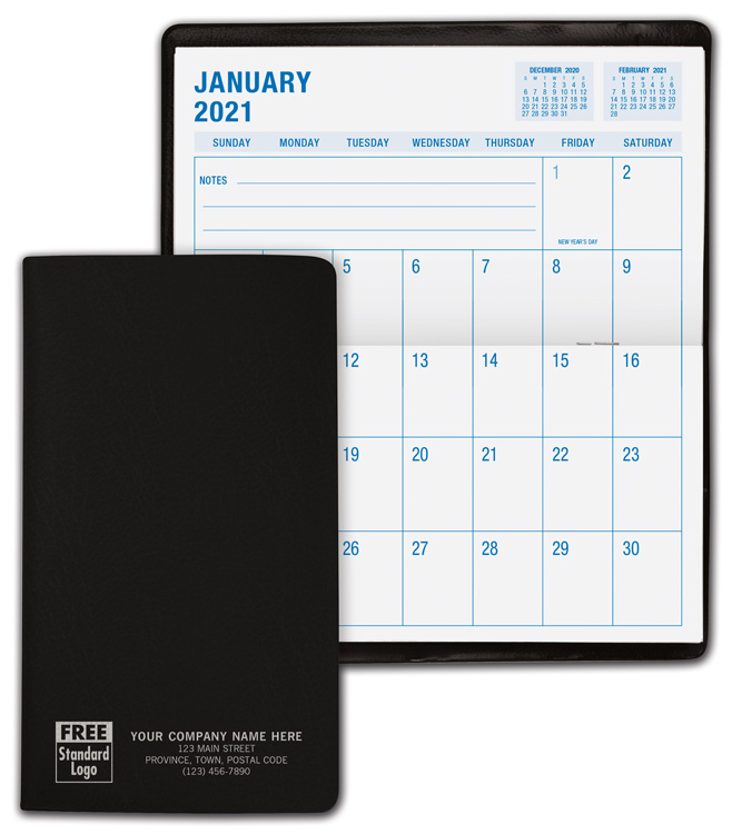 2021 monthly pocket planners that are custom printed with your information.