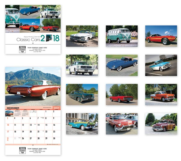 Wall calendars printed with your company logo and classic cars.