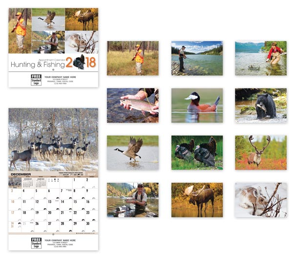 Customized 2018 wall calendars with images of fishing and other wildlife illustrations.