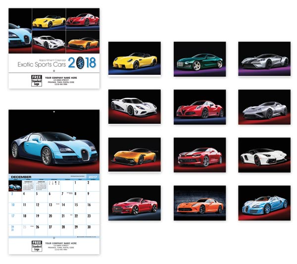 Custom printed 2018 wall calendar printed with your dealership or business name.