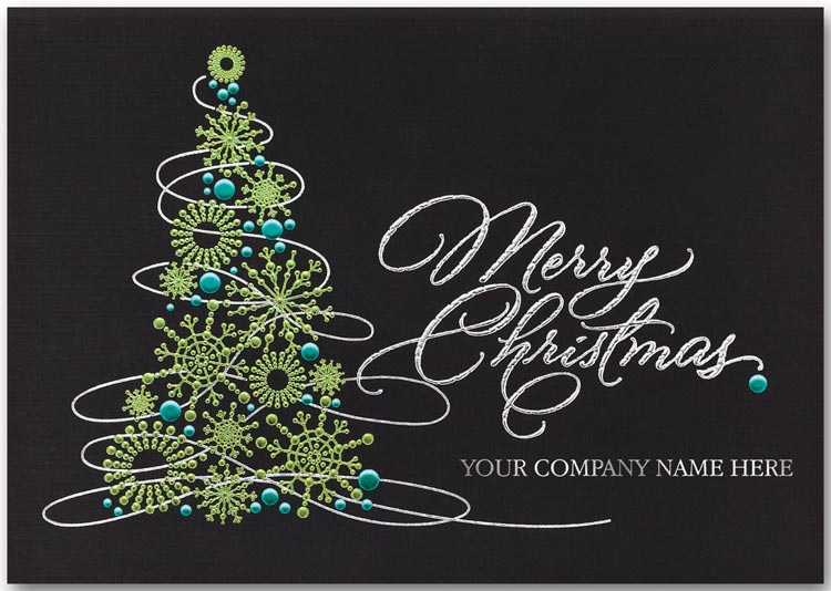 Black linen recycled Christmas card printed with silver foil and a green holiday tree next to your company name.