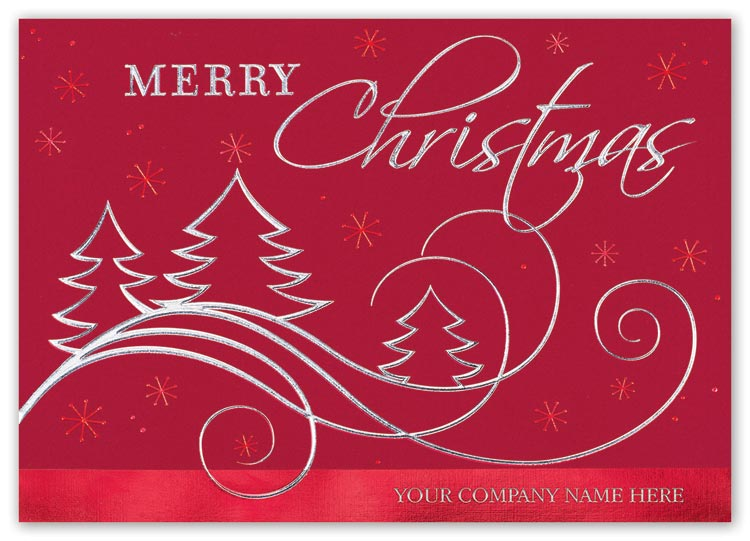 Christmas cards with joyous swirling and delight designs and  company name imprint options