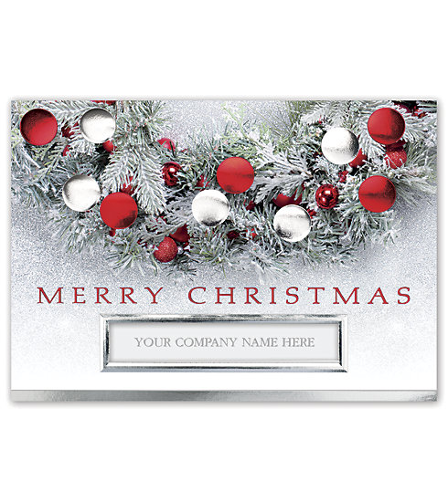 Wish your clients the very best this season with this Flocked and Festive card that displays your name on the front.