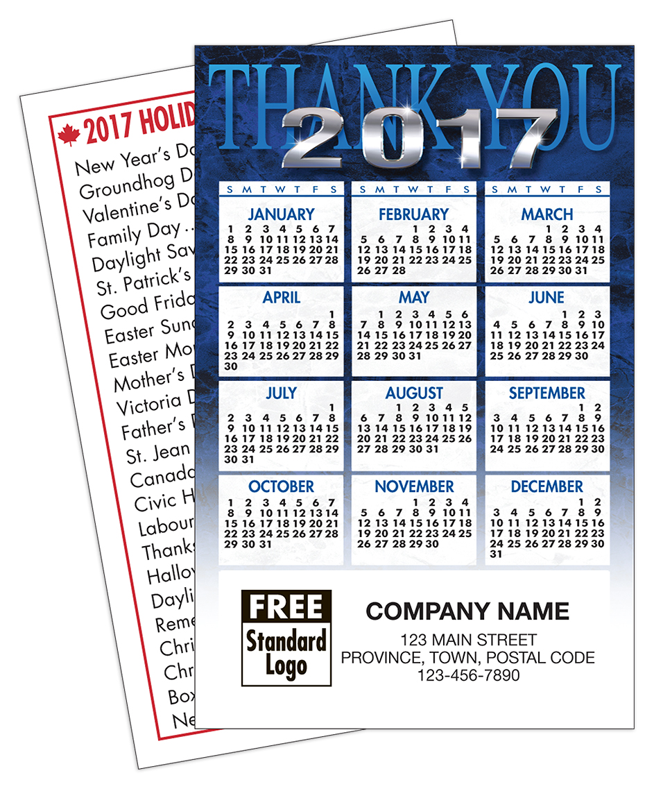 Custom 2017 wallet calendar with blue thank you design and personalization on front.