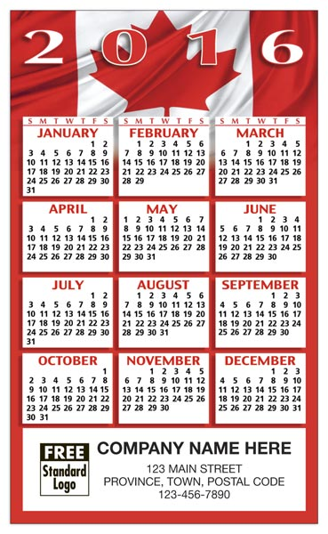 2016 custom printed Canada calendars with a self-adhesive back to show off your white and red patriotic colors.