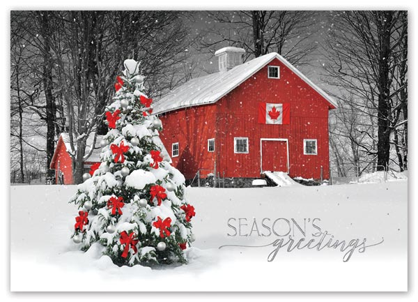 Snow falls softly on a poignant moment in the Canada Proud holiday card.