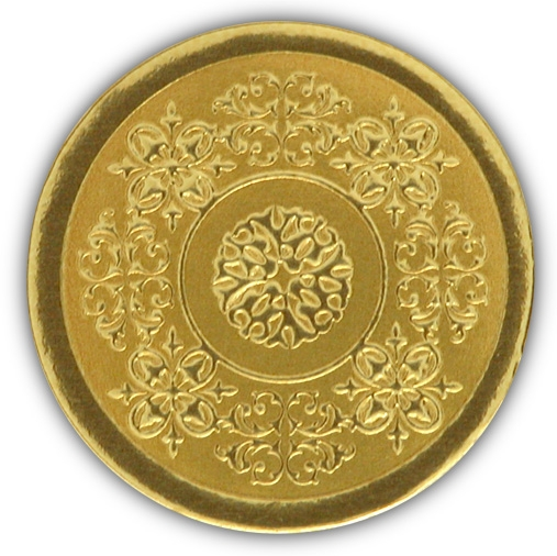 Gold foil seals to attach to gifts, bags and envelopes.