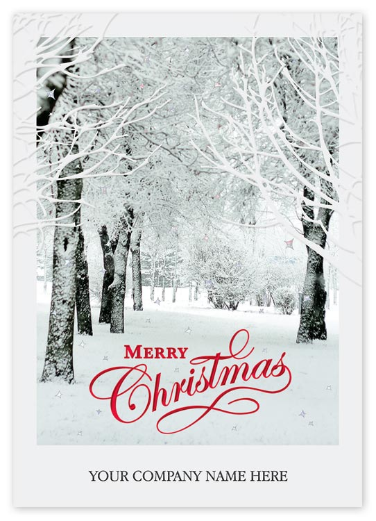 Christmas cards printed with your verse and personal message or even signatures, portraying beautiful snow-covered trees.