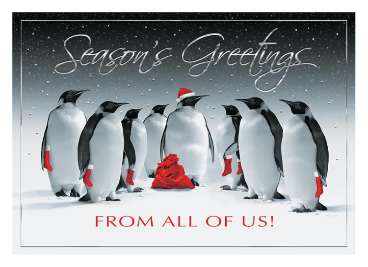 Holiday card customized with your name, verse and message and 8 Christmas-themed penguins.