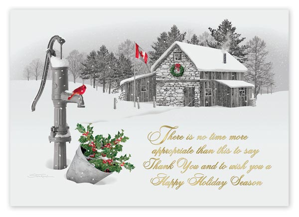 Custom printed holiday greeting cards with a message about the perfect time to deliver thanks.
