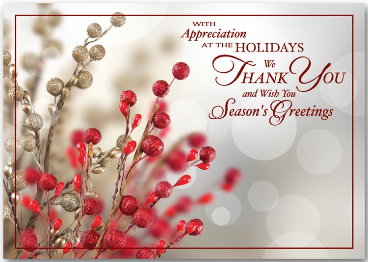 A special thank you during the holiday season printed on the front of these greeting cards.