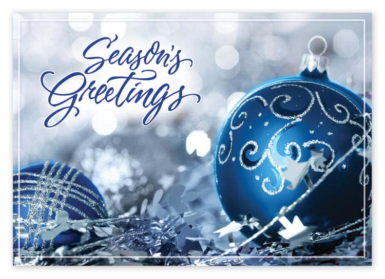 Send beautiful elegant greetings this season with this blue and silver ornament card.