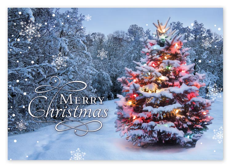 This beautiful Christmas card displays an enchanted and luminous Christmas tree surrounded by a sparkling forest.