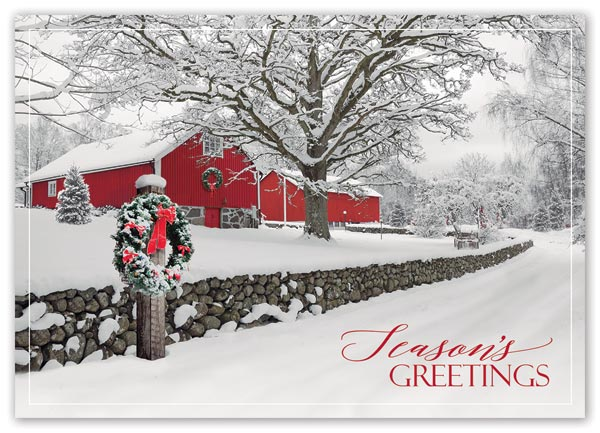 Send warm holiday greetings with this quaint and budget-friendly Rustic Ranch Card.