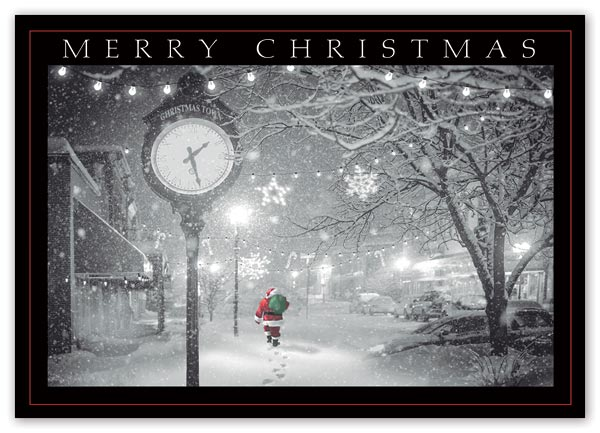 Send warm holiday greetings with this poignant and budget-friendly Midnight Walk Card.
