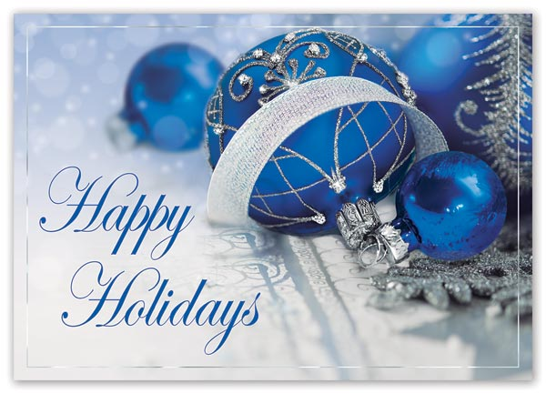 Send warm holiday greetings with this elegant and budget-friendly Starlight Sapphire Card.