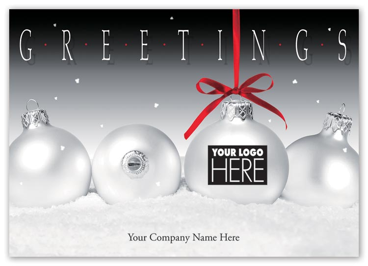 Holiday card with frosty display and black logo imprinting