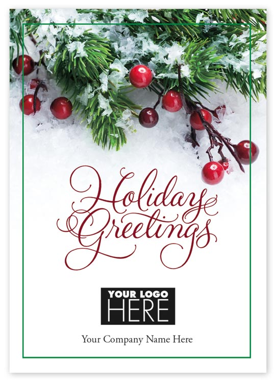 Holiday card with unique touch of berry sprig and personalization options