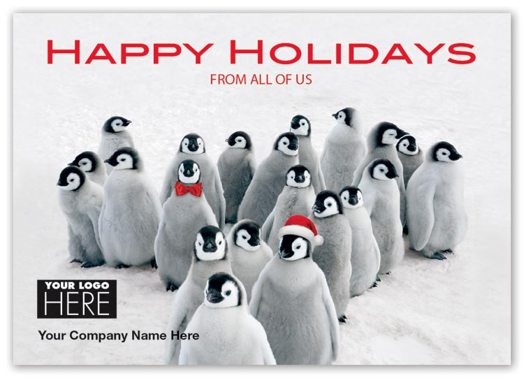 Holiday cards with penguin parade and black ink logo imprint option