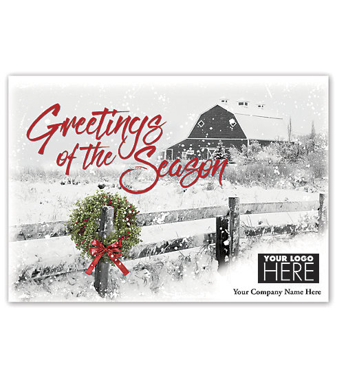 Send beautiful greetings to your client this season with this quaint and simple card.