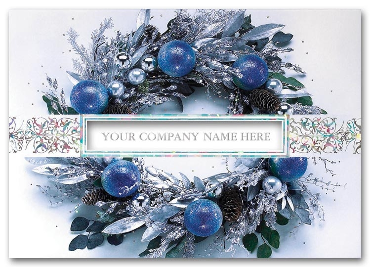 A bold blue wreath adorns the front of this card. Personalize with your company name.