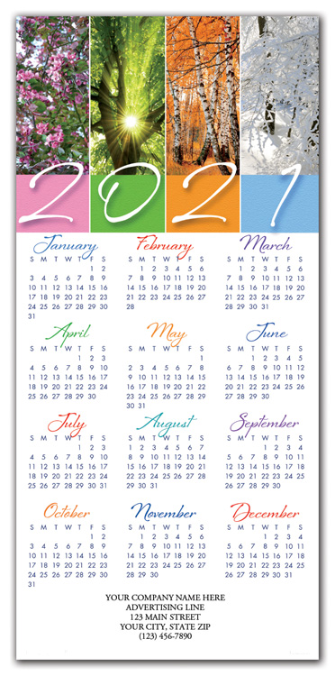 Promote your business with these 2021 calendar cards printed with the seasons of the year.
