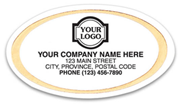 Gold and White Oval Labels