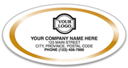 Gold Trim Oval White Labels, Medium