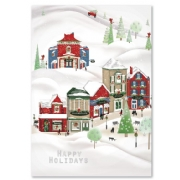 Cheerful Village Holiday Card